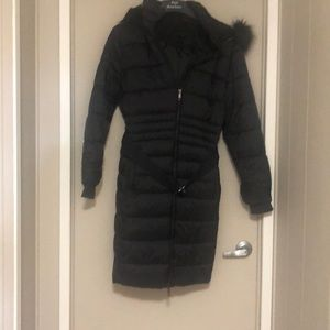 Long Black Warm Hooded Parka Coat NWOT XL
